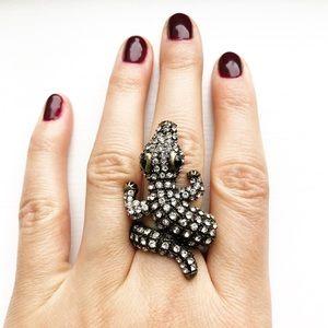Brassy gold & diamond alligator ring